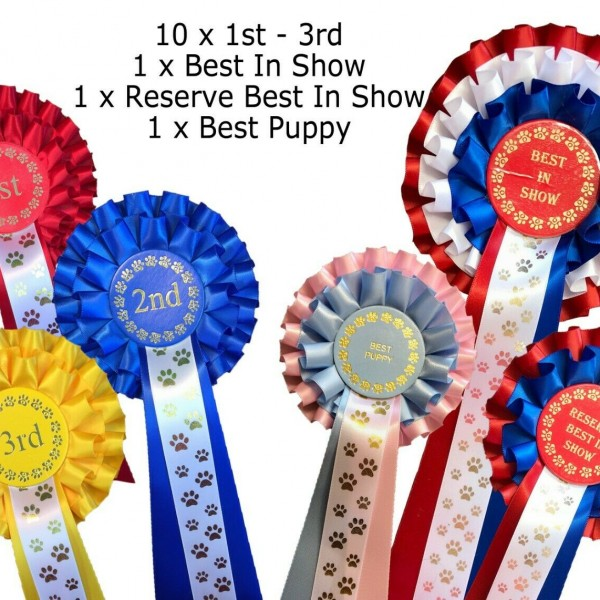 10 sets 1st-3rd 2 Tier Dog Rosettes Best In Show Res Best In Show Best Puppy