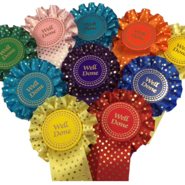 Gold Spotted Polka Dot Rosettes Pack of 10