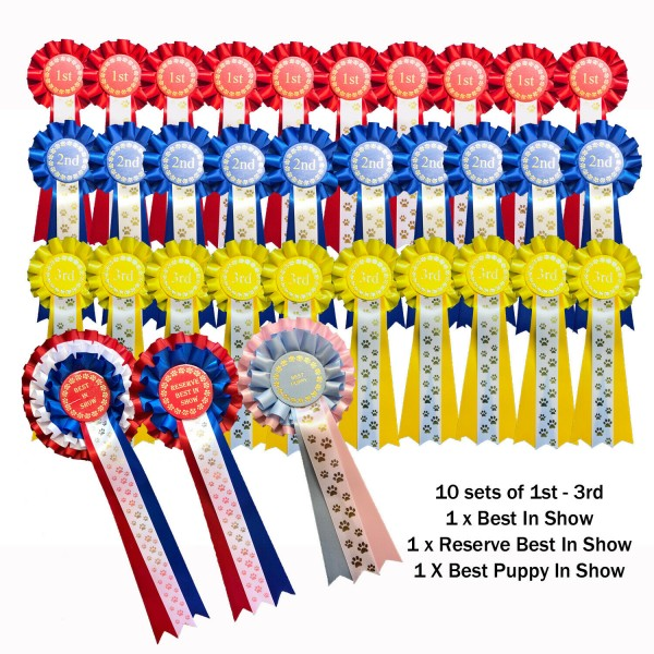 10 sets 1st-3rd 1 Tier Dog Rosettes Best In Show Res Best In Show Best Puppy